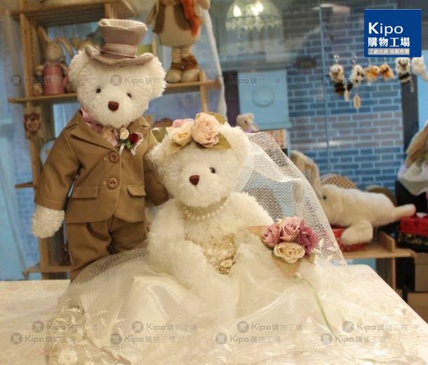 泰迪婚纱熊 高个子 白纱 捧花 泰迪熊 婚纱熊 ncj0060